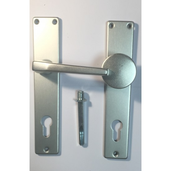 Knob & Handle with Cylinder-Holed Cover Plate 85mm, Silver