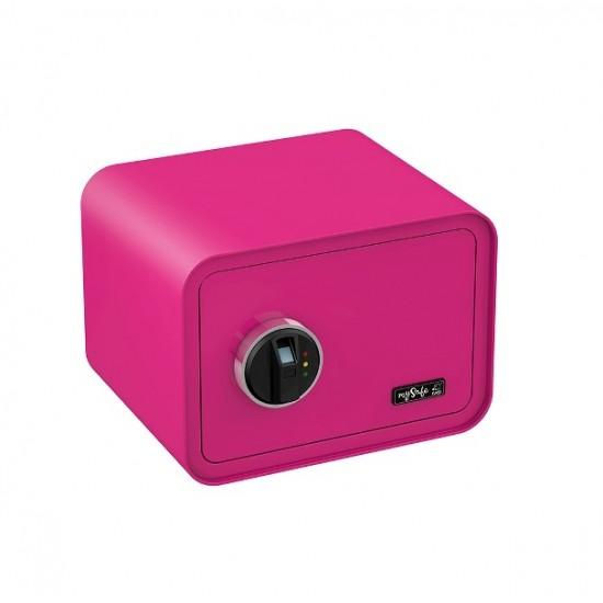 Elektronisks sadzīves seifs ar biometrisku slēdzeni, ar pirksta nospiedumu. Rozā.
