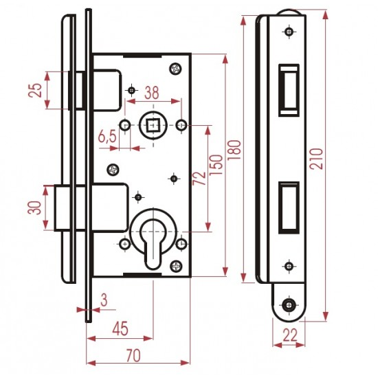 ZV45 (72 mm) zinc plated case and striker plate,polished handles, chr.plated cover plates