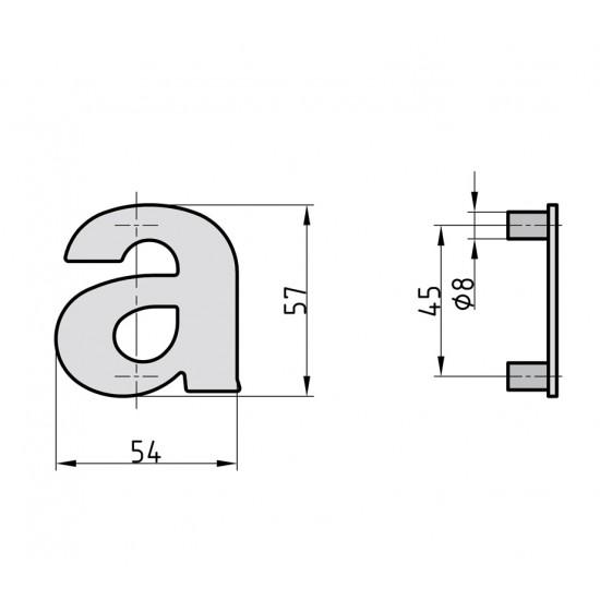 Door letter a, INOX